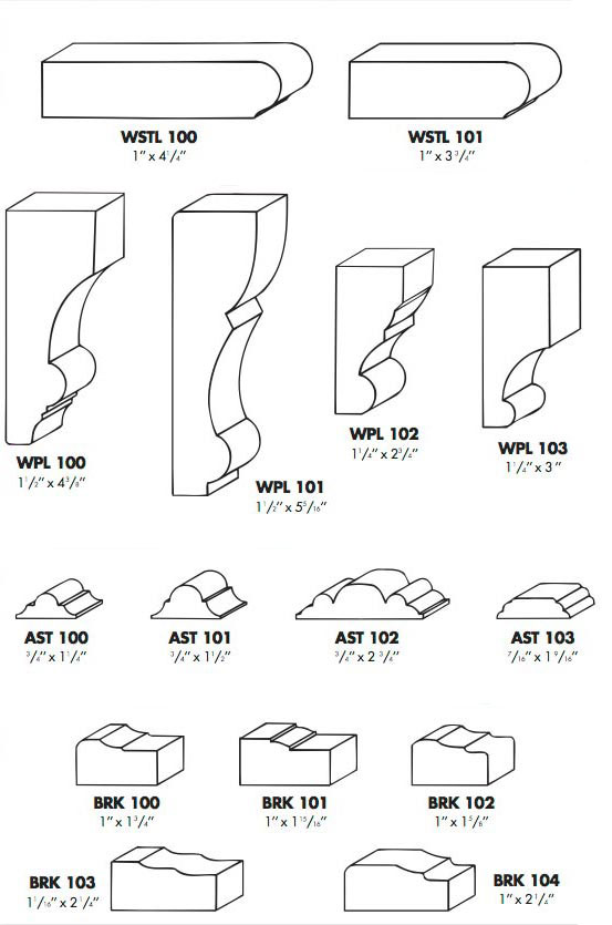 moldings, window stool, window plinths, astragals and brick moldings photo